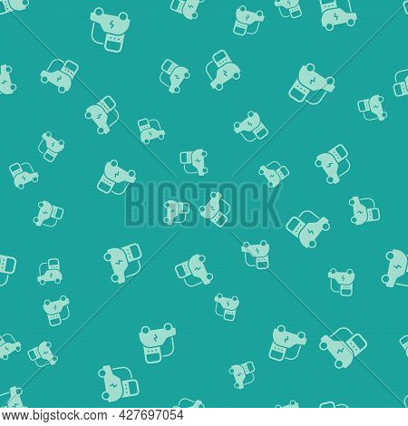 Green Electric Car And Electrical Cable Plug Charging Icon Isolated Seamless Pattern On Green Backgr