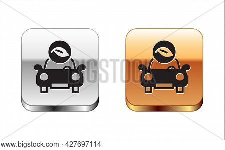 Black Eco Car Concept Drive With Leaf Icon Isolated On White Background. Green Energy Car Symbol. Si