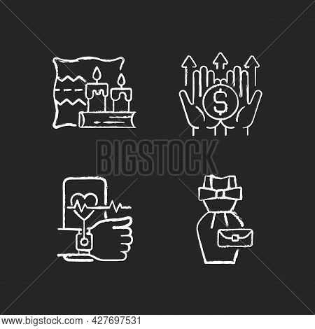 Lifestyle Tendencies Chalk White Icons Set On Dark Background. Hygge Life. Wealth Building. Health T