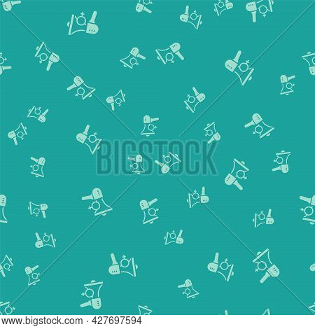Green Female Movement, Feminist Activist With Banner And Placards Icon Isolated Seamless Pattern On