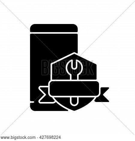 Phone Repair Warranty Black Glyph Icon. Broken Phone Replacement And Renovate Insurance. Fix Cracked