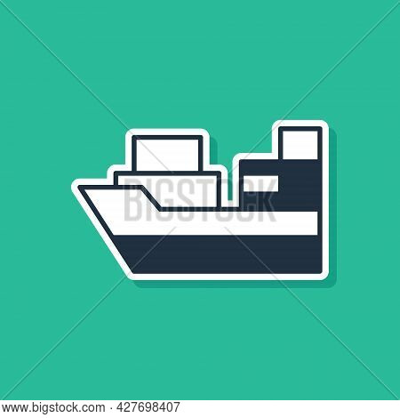 Blue Cargo Ship With Boxes Delivery Service Icon Isolated On Green Background. Delivery, Transportat