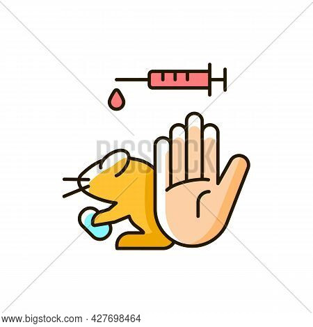 No Hamster Testing Rgb Color Icon. Refusal For Animal Abuse In Laboratory Research. Protecting Mice