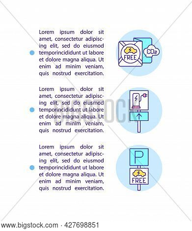 Electric Vehicles Benefits Concept Line Icons With Text. Ev Free Parking Zone. Ppt Page Vector Templ