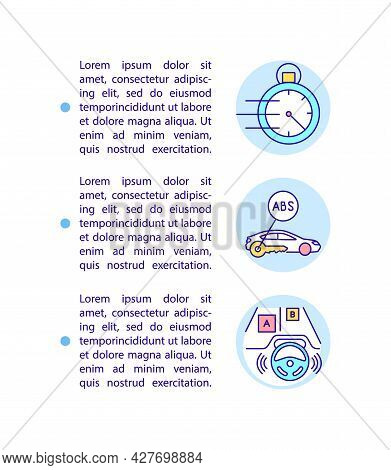 Ev Driving Experience Improvement Concept Line Icons With Text. Smart Features. Ppt Page Vector Temp