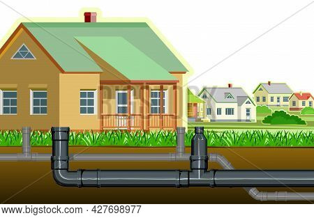 Pipeline For Various Purposes. Individual Connection. Underground Part Of System. Isolated Illustrat