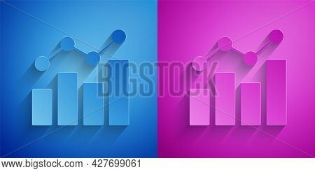 Paper Cut Financial Growth Increase Icon Isolated On Blue And Purple Background. Increasing Revenue.