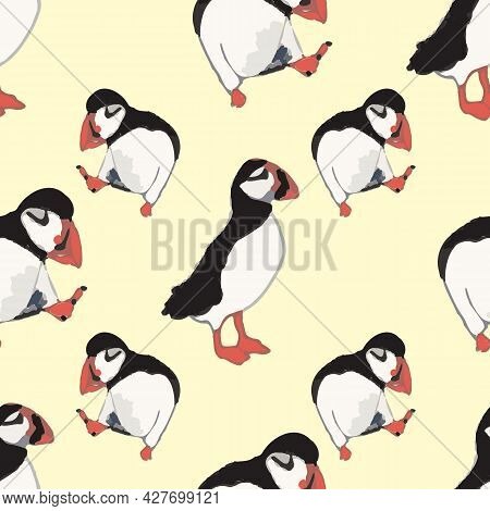 Vector Yellow Background Ocean Seabird, Arctic Birds, Puffins. Seamless Pattern Background