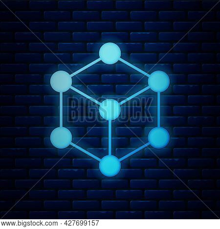 Glowing Neon Molecule Icon Isolated On Brick Wall Background. Structure Of Molecules In Chemistry, S
