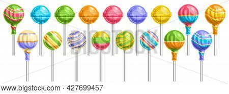 Vector Set Of Lollipops, Lot Collection Of 17 Cut Out Illustrations Of Different Wrapping And Stripe