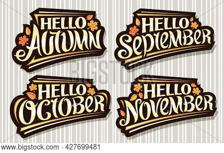 Vector Set For Autumn Season, Black Logos With Curly Calligraphic Font, Falling Autumn Leaves And De