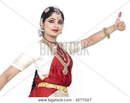 pretty female Bharathanatyam dancer of Tamil nadu in South India poster