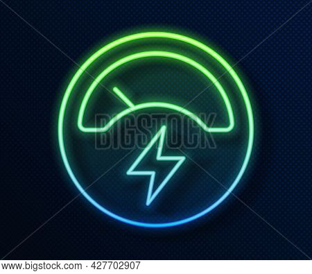 Glowing Neon Line Ampere Meter, Multimeter, Voltmeter Icon Isolated On Blue Background. Instruments