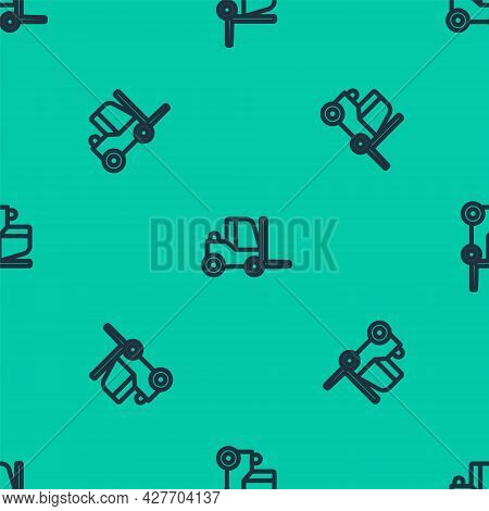 Blue Line Forklift Truck Icon Isolated Seamless Pattern On Green Background. Fork Loader And Cardboa