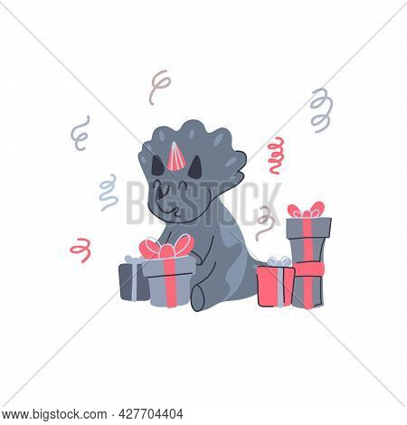 Happy Little Dinosaur Opening Birthday Gifts. Festive Party. Vector Child Card With Cartoon Baby Tri