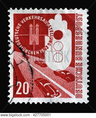 ZAGREB, CROATIA - SEPTEMBER 04, 2014: Stamp printed in Germany, shows German Traffic Exhibition in Munich, circa 1953