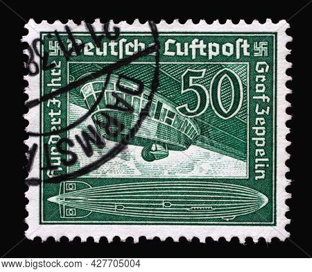 ZAGREB, CROATIA - SEPTEMBER 04, 2014: Stamp printed in Germany, Realm, that shows Zeppelin and celebrates 100th anniversary of birth of Ferdinand Graf von Zeppelin, circa 1938