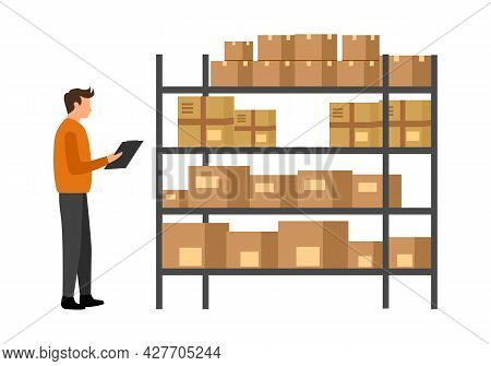 Warehouse Worker Checking Stock Inventory In Flat Design On White Background. Inventory Management.