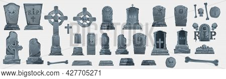 Gravestones Set. Old Tomb Collection. Ancient Rip. Collection Of Gravestones. Concept Cartoon Graves