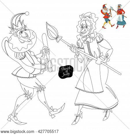 Traditional Puppet Show Featuring Mr. Punch And His Wife Judy. Coloring Page. Vector Illustration