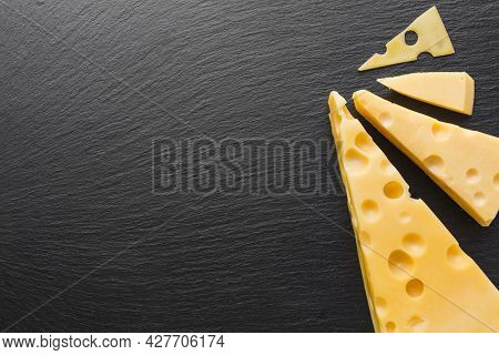 Flat Lay Emmental Cheese With Copy Space. High Quality Beautiful Photo Concept