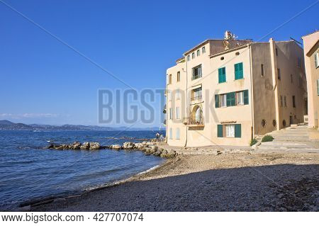 Saint Tropez, Old City View By The Beach With Colorful Houses, Côte D'azur, France, Europe