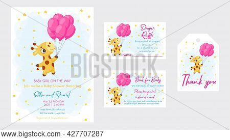 Baby Shower Printable Party Invitation Card Template Baby Girl On The Way With Diaper Raffle, Book F