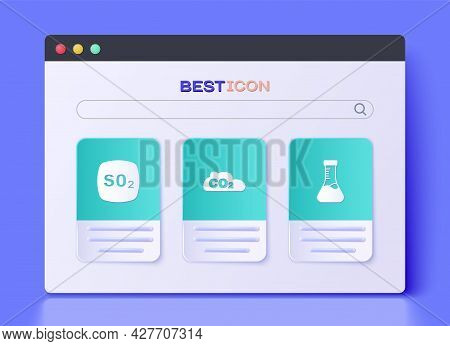 Set Co2 Emissions In Cloud, Sulfur Dioxide So2 And Test Tube Icon. Vector