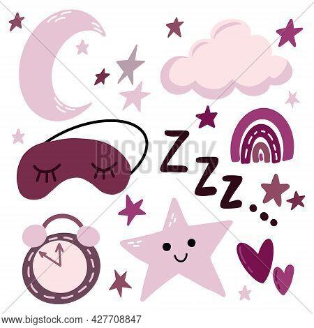 Clip Art Set Of Good Night Sleep Nap Design Elements - Moon, Cloud, Stars, Sleeping Mask, Boho Rainb