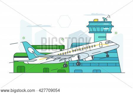 Airport Terminal Building For Departures. Vector Airplane Take Off, Passengers Go On Trip Line Art S