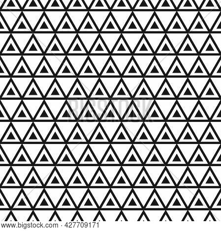 Abstract Ornament With Black Triangles On White Background. Geometric Seamless Texture. Modern Patte