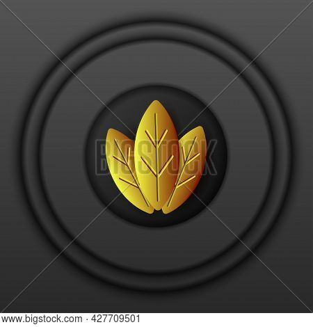Dark Relief Background With Multilayered Round Frame And Golden Leaves