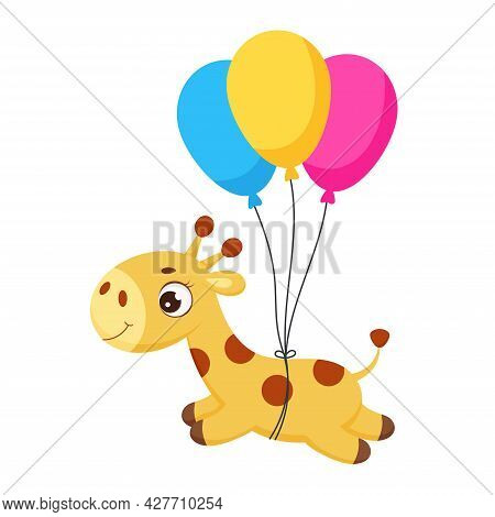 Baby Shower Greeting Card With Cute Little Giraffe Flying On Balloons. Funny Cartoon Character For P