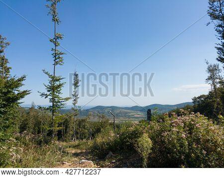 Hilly Landscape Of Manjaca Mountain Overgrown With Forests Near Banja Luka, Bosnia And Herzegovina