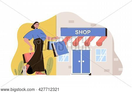 Shopping Trip Concept. Woman Shopping In Boutiques On Vacation Situation. Buyer Searches And Buys Cl
