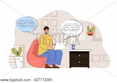 Social Media Concept. Man Browsing Social Networks And Chatting With Friends Situation. Online Commu