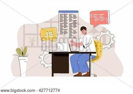 Web Developer Concept. Designer Develops Site, Writes Code, Creates Layout Situation. Online Page De