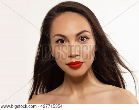 Closeup Portrait Of A Woman With Developing Straight Hair. Sweet Tender Young Girl, Brunette. Red Li