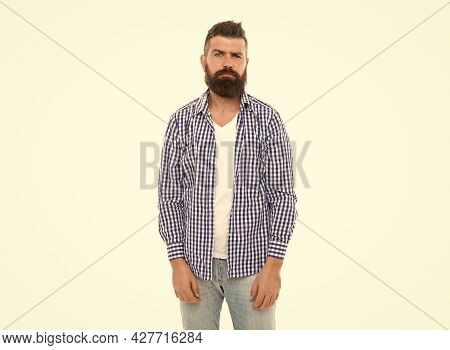 His Perfect Style. Charisma And Confidence. Confident Bearded Man In Casual Checkered Shirt.
