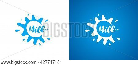 Cow Milk Product Logo. Fresh Natural Lactic Brand Identity Logotype Design. Dairy Splash Sign For Co