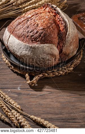 Freshly Artisan Baked Beetroot Bread, Crunchy Bread, Country Bread. Crispy Wheat And Rye Bread. Simp