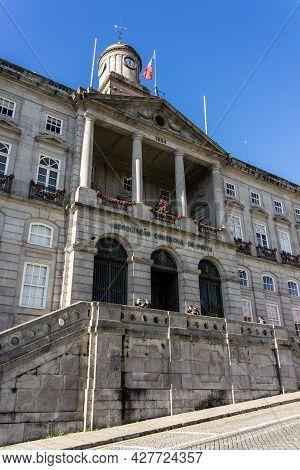 Porto, Portugal - December 01, 2019: Stock Exchange Palace Of Porto Facade.