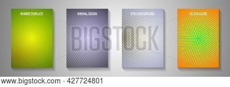 Creative Point Screen Tone Gradation Cover Page Templates Vector Batch. Industrial Flyer Faded