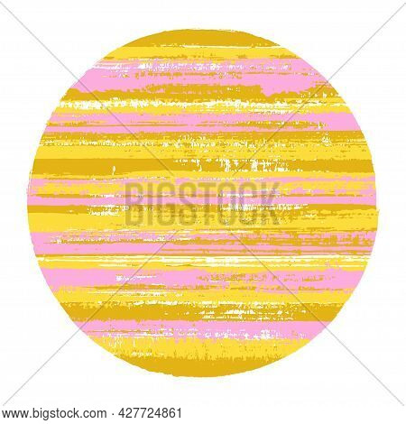 Vintage Circle Vector Geometric Shape With Striped Texture Of Ink Horizontal Lines. Planet Concept W