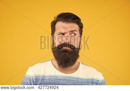 What To Do. Male Facial Care. Portrait Of Brutal Bearded Man. Serious Stylish Man With Moustache. Th