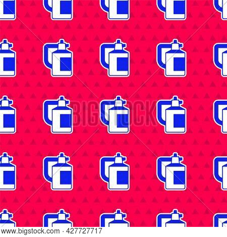 Blue Garden Sprayer For Water, Fertilizer, Chemicals Icon Isolated Seamless Pattern On Red Backgroun