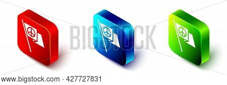 Isometric Peace Icon Isolated On White Background. Hippie Symbol Of Peace. Red, Blue And Green Squar