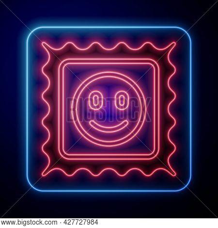 Glowing Neon Lsd Acid Mark Icon Isolated On Black Background. Acid Narcotic. Postmark. Postage Stamp