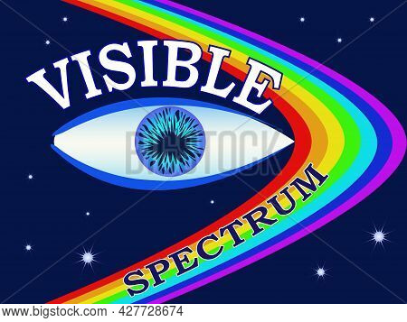 Illustration With The Image Of The Visible Spectrum And Eyes For Printing On Banners, For Design Of