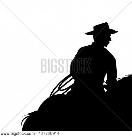 Horseback Cowboy With Lasso - Wild West Ranger Riding Horse Black And White Vector Silhouette Copy S